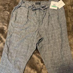 Ellen Tracy plaid Linen pants with tie (NWT) S/L